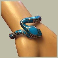 "Vintage Snake Bracelet Turquoise Enamel Hinged Bangle Natural Ruby Eyes Marcasites Silver Size S-M 7"""