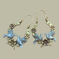 Vintage Victorian Revival Two Birds Turtles and Flowers on Horseshoe Three Colors Gold Filled Earrings 7.7 g 35 mm