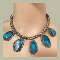 Beautiful Old Pawn Navajo Five Turquoise Pendants on Silver Pearl Beads Necklace Southwestern