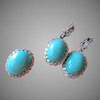GIA Certified (Carlsbad CA) Untreated Not Stabilized Turquoise Diamond Palladium Earrings and Ring 23.8 grams Size 6.25