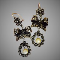 Amazing Antique 10K Gold and Silver Pyrite Marcasites Chandelier Dangle Earrings 55 mm Long