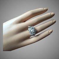 Edwardian Belle Époque Old European Cushion Cut .82 ct Diamond and 0.45 ct Accent 1.27 ct Total Diamonds Leaf Design 12K Gold Engagement Ring Size 6.5