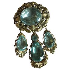 "Stunning Antique Late GEORGIAN Early Victorian 18 karat Gold Large PIN BROOCH 3"" with THREE DETACHABLE PENDANTS Gold and Aquamarine Paste"
