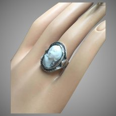 Antique Victorian 14K White Gold Carved High Relief Cameo Woman Ring Size 6.5