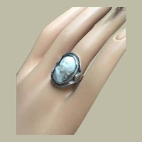 Edwardian Art Nouveau 14K White Gold Ring with Antique Victorian High Relief Full Face Cameo Girl Ring Size 6.5