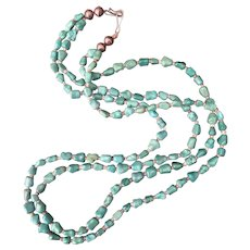 "Old Mine Chinese Untreated Turquoise Necklace Two Strands Knuckle Bone 27"" Long Circa 1950"