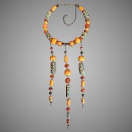 One of a Kind Tribal Collar Necklace with Antique Trade Beads Venetian African Carnelian Necklace Circa 1960's