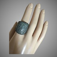 Vintage Cigar Ring 18K Solid Gold 3 ctw Black Diamonds Pave in Silver Wide 24 mm Weight 10.2 g Size 7.75 UNISEX