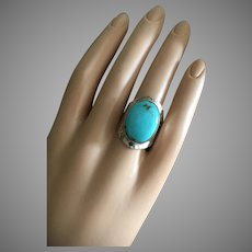 Large Modernist Sleeping Beauty American Turquoise Ring Hammered Sterling Silver 25 mm Size 8 UNISEX