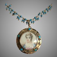 French 14K Yellow Solid Gold Girl Portrait Pendant with 14K Gold Enhancer Bale Added on Turquoise Gold Filled Necklace