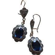 Art Deco Style 14K Gold Diamonds Drop Dangle Earrings with Blue Spinel Gems 40 mm 6.2 grams