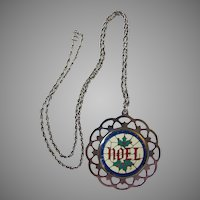 Sterling Silver 1983 Christmas Noel Pendant Ornament with Enamel on Chain Necklace by LUNT