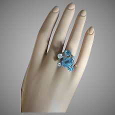 VALENTINE's SPECIAL Gorgeous Mid Century Modern White and Blue Topaz Cocktail Ring 14K White Gold 10.6 grams Size 7