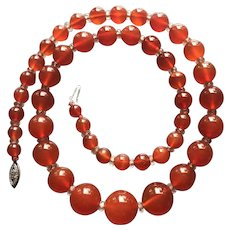 Perfect Art Deco Graduated Carnelian Agate Bead Necklace with Rock Crystal Accent Beads