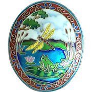 Vintage Chinese Enamel Silver Brooch with Dragonfly Frog on Lily Pad Flowers on Water IMPECCABLE