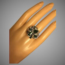 Mid Century Modernist Sterling Silver Green Imperial Jade Cluster Cocktail Ring Size 7