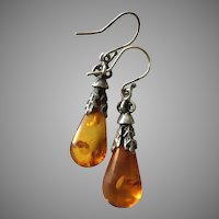 Vintage Baltic Amber Teardrops Pendant Dangle Earrings Sterling Silver 50 mm Long