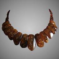 "Vintage Graduated Baltic Amber Collar Bib Necklace 17.5"" Weight 42.4 g"