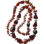 "Vintage Baltic Amber Hand Knotted Beads Necklace Opera Length 29"" Weight 37.6 grams"