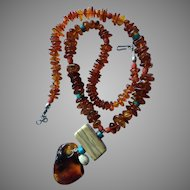 Vintage Baltic Amber Necklace with Drop Dangle Coral Turquoise Carved Bone Accents BOHO Chic