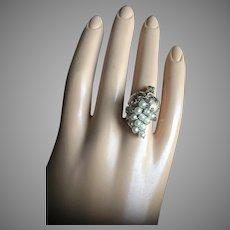Antique 10K Gold Salt Water Pearls Grape Cluster Cocktail Ring Size 6 Bridal