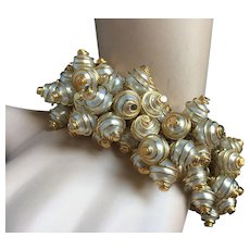 """Opulent 1980's Fancy Rich Caged Pearls Bracelet Gold Tone for Slim Wrist 7.75"""" Impeccable Condition - Red Tag Sale Item"""
