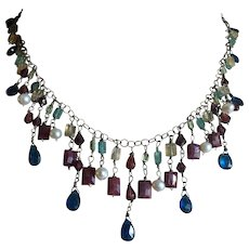 Princessy Multigem Sterling Silver Necklace with Colorful Fringes of Ruby Garnet Citrine Pearl