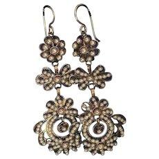 Antique Georgian Vermeil Filigree Girandole Chandelier Earrings with Faux Seed Pearls 70 mm
