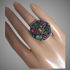 Antique Arts and Crafts Silver Ring with Ruby Emerald Yellow Sapphire 27 mm Size 6.25