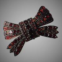 Antique Victorian Bohemian Garnet Ribbon Pin Brooch 46 mm