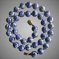 """Vintage Chinese Hand Painted Blue and White Shou Symbols Porcelain Beads Necklace 25"""""""