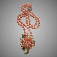 14K Gold Undyed Orange Salmon Coral Necklace with Coral Jade Tulip Bouquet 18K Gold Plated Pendant Brooch