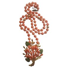 14K Gold Undyed Orange Salmon Coral Necklace with Coral Jade Tulip Bouquet  Pendant
