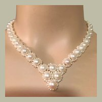 """BRIDAL Graduated Baroque Pearls and Seed Pearls Necklace 17.5"""" Long Very Graceful"""