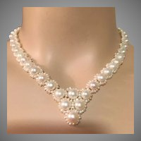"14K Gold Graduated Baroque Pearls and Seed Pearls Necklace 17.5"" Long Bridal"