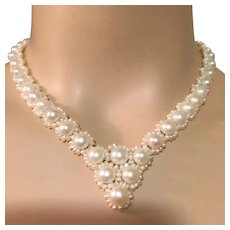 """Graduated Saltwater Seed Pearls and Baroque Pearls Necklace 17.5"""" Long Bridal"""