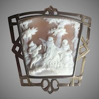 Unusual Antique Jugendstil Framed Trapezoidal Cameo Pin Brooch Pendant Bucolic Landscape with MINSTRELS Music Players