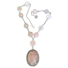 Art Deco Chinese Carved Rose Quartz Necklace with Shou Beads And Pendant