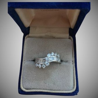 Vintage 14K White Gold 1.10 ct Diamond Swirl Anniversary Ring Size 6.25