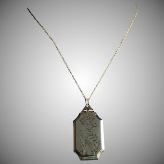 Antique Double Photo Locket Octagonal Pendant with Chain Necklace Gold Filled