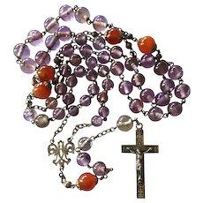 Antique French Rosary with Art Nouveau Fleur de Lys Motif Cross Amethyst Beads