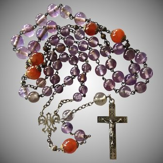 Antique French Rosary with Art Nouveau Fleur de Lys Motif Cross Amethyst Beads