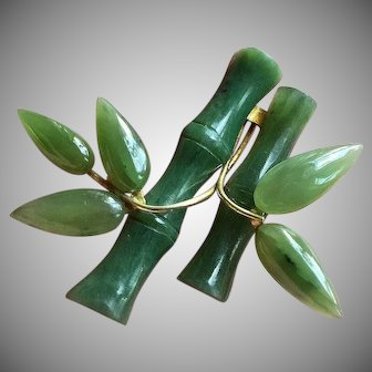 Vintage Green Jade Bamboo Trees Brooch Pin Gold Filled