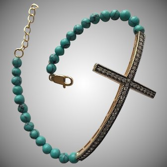Turquoise Beaded Bracelet with Large Cross Cubic Zirconia Rose Gold on Silver