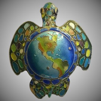 Vintage Chinese Blue Enamel Turtle Map Brooch Pin Silver North South America Map 43 mm
