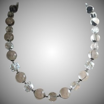 Art Deco Orbs Pools of Light Necklace with Faceted Rock Quartz Beads Sterling Silver