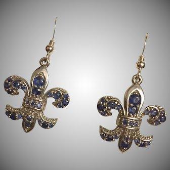 Vintage Blue Sapphire Fleur de Lys Drop Dangle Earrings Sterling Silver 40 mm Signed