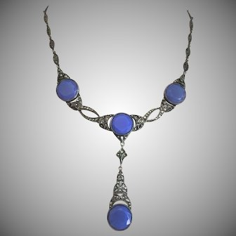 """Art Deco Blue Chalcedony Stone Necklace with Pendant Sterling Silver Marcasites 18"""" Long"""