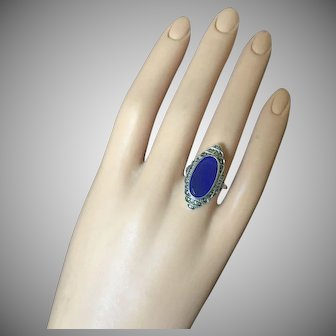 Art Deco Blue Chalcedony Stone Ring Marcasites Sterling Silver 28 mm Size 6.5