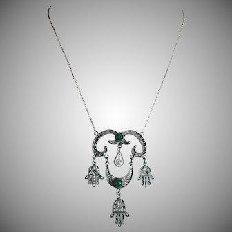 Rare Vintage Three Hamsa Hands Pendant Necklace Filigree Silver Cannetille Green Agate UNISEX